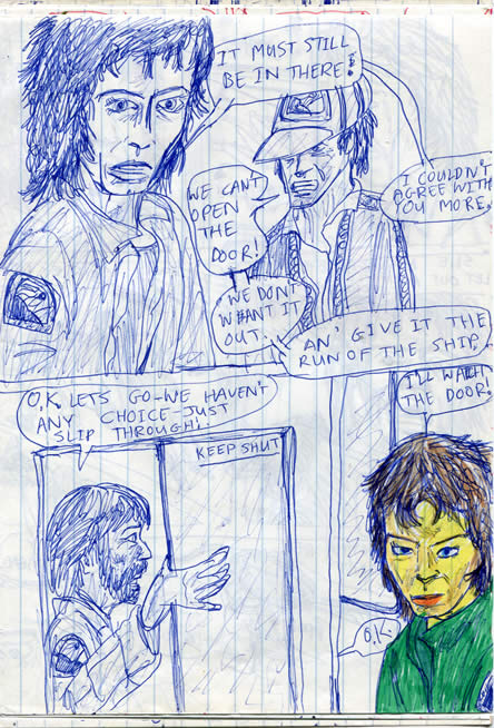 Dallas and Ripley brace themselves to search the infirmary for the facehugger. Lambert bravely guards the door - ALIEN comic page