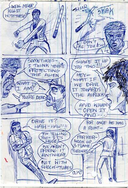 Parker loses his cool with Ash and ripley tells him to build some flamethrowers - alien comic page
