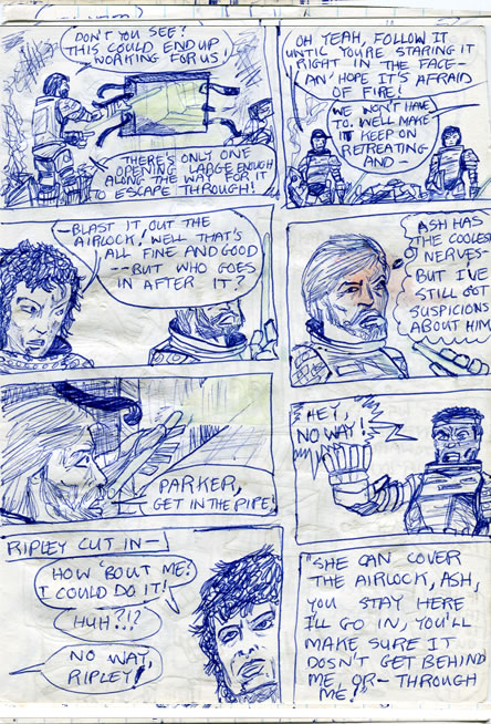 The crew find the alien in the food locker and let rip with flame-throwers - alien comic page