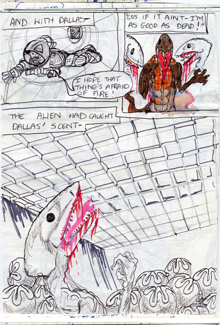 Dallas crawls on through the shaft and the alien catches his scent! - alien comic page