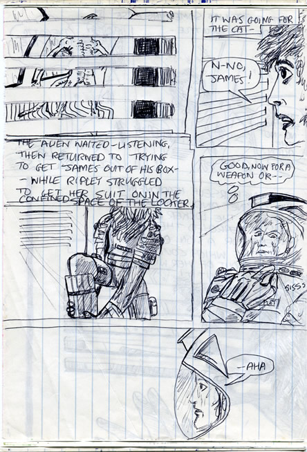 Ripley struggles into her spacesuit in the locker and searches for a weapon - alien comic page