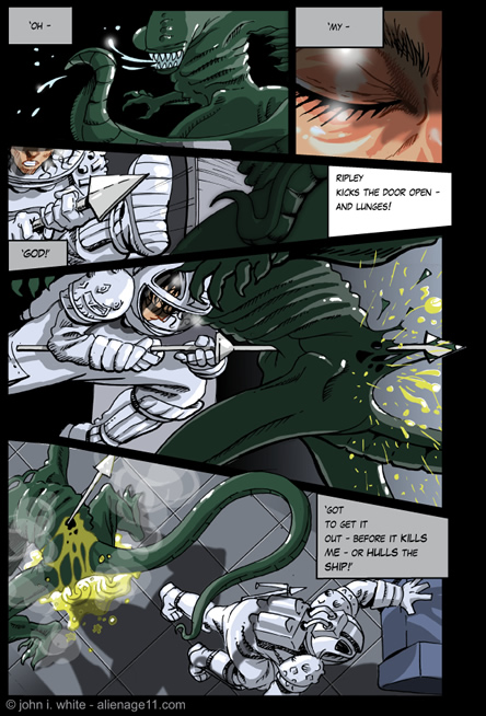 Ripley takes courage and charges! - alien comic page