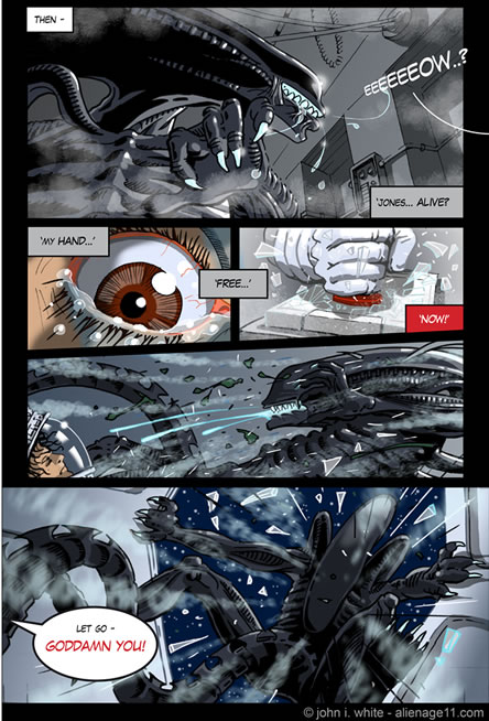 Jones to the rescue and Ripley hits the airlock button - alien comic page