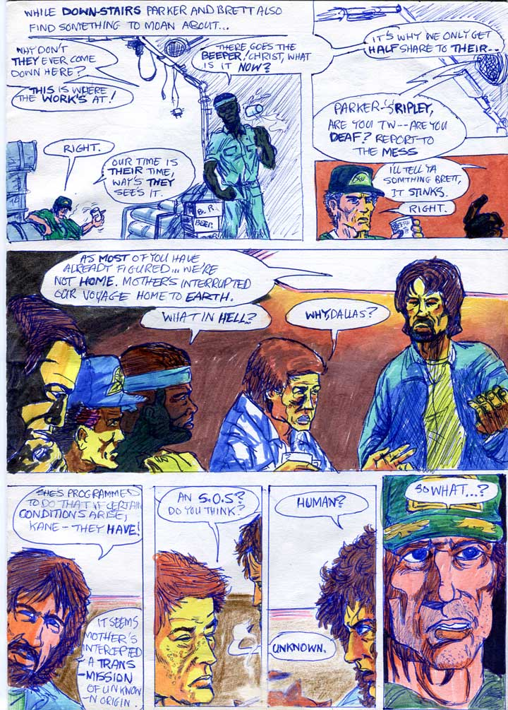 parker and brett whinge and the dallas briefs the crew on the situation - alien comic page