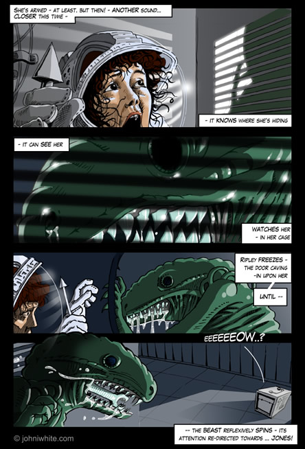 The alien knows ripley is hiding in the locker! - alien comic page